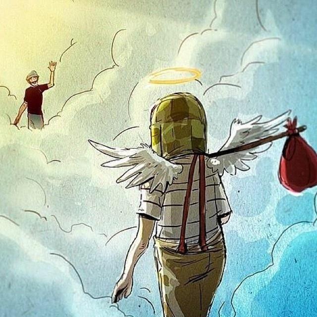 Em um cartoon, Seu Madruga acena para Chaves que está chegando no céu. O ator Roberto Bolaños, criador e intérprete do personagem, morreu aos 85 anos, nesta sexta-feira (28), no México