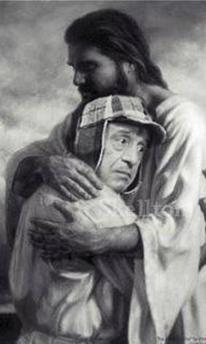 Imagem de Jesus recebe Chaves entre nuvens no céu. O ator Roberto Bolaños, criador e intérprete do personagem, morreu aos 85 anos, nesta sexta-feira (28), no México