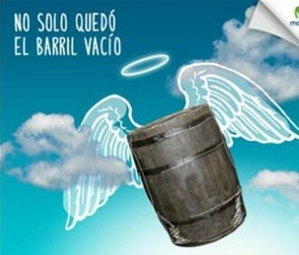 """Na ilustração, o barril vai para o céu junto com Chaves. """"O barril vazio não ficou sozinho"""", dizia a imagem. O ator Roberto Bolaños, criador e intérprete do personagem, morreu aos 85 anos, nesta sexta-feira (28), no México"""