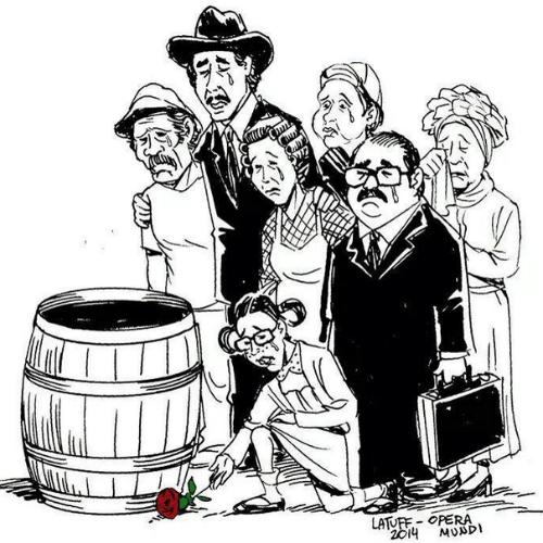 """O cartunista brasileiro Carlos Latuff fez uma homenagem a Roberto Bolaños na qual a maioria dos personagens da série """"Chaves"""" se despedem do personagem principal diante de sua moradia, um barril"""