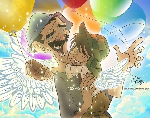 """O cartunista Dave Alvarez publicou em seu Facebook a imagem do encontro entre Chaves e Seu Madruga. """"Descanse em Paz, mestre Chesperito"""""""