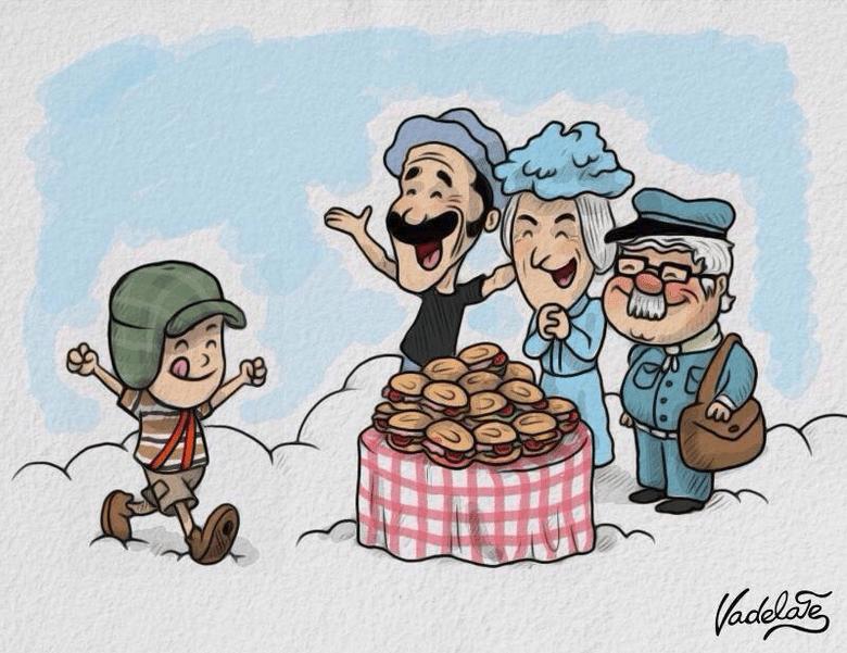 """O cartunista mexicano Vadelate fez desenhou Chaves indo ao encontro de Seu Madruga, Dona Clotilde (a Bruxa do 71), Jaiminho e uma mesa cheia de sanduíches de presunto """"Lá em cima vai ter todos os [sanduíches] que quiser, Chavinho"""", escreveu ele"""