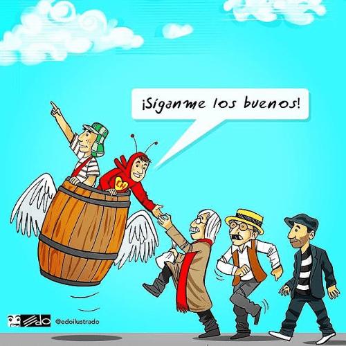 O cartunista venezuelano Eduardo Sanabria, conhecido como Edo, traduz a partida de Roberto Bolaños e seus personagens através de um desenho
