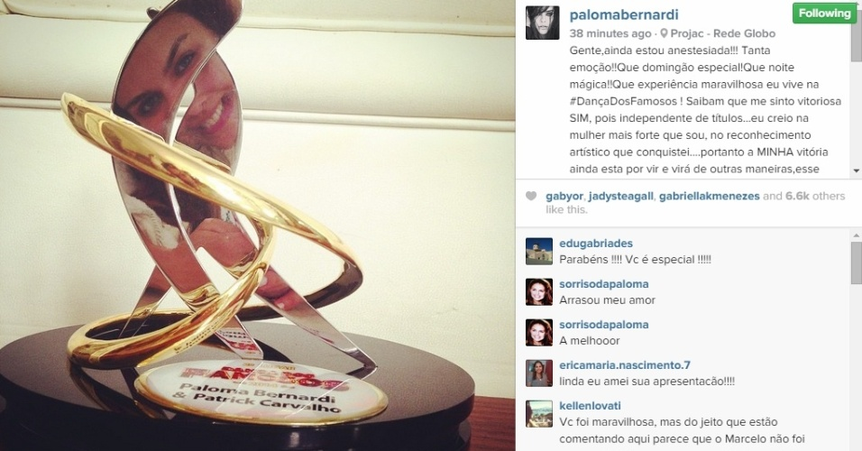 01.dez.2014 - Paloma Bernardi postou foto do troféu conquistado na