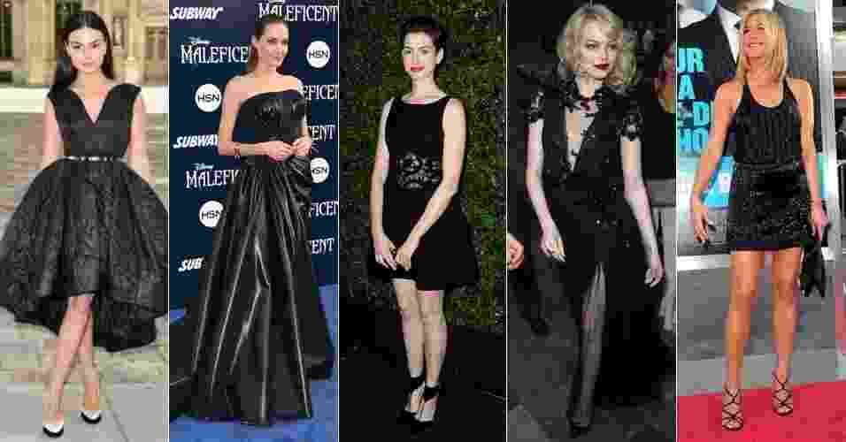 Famosas vestem preto - Isis Valverde, Angelina Jolie, Anne Hathaway, Emma Stone e Jennifer Aniston - Getty Images