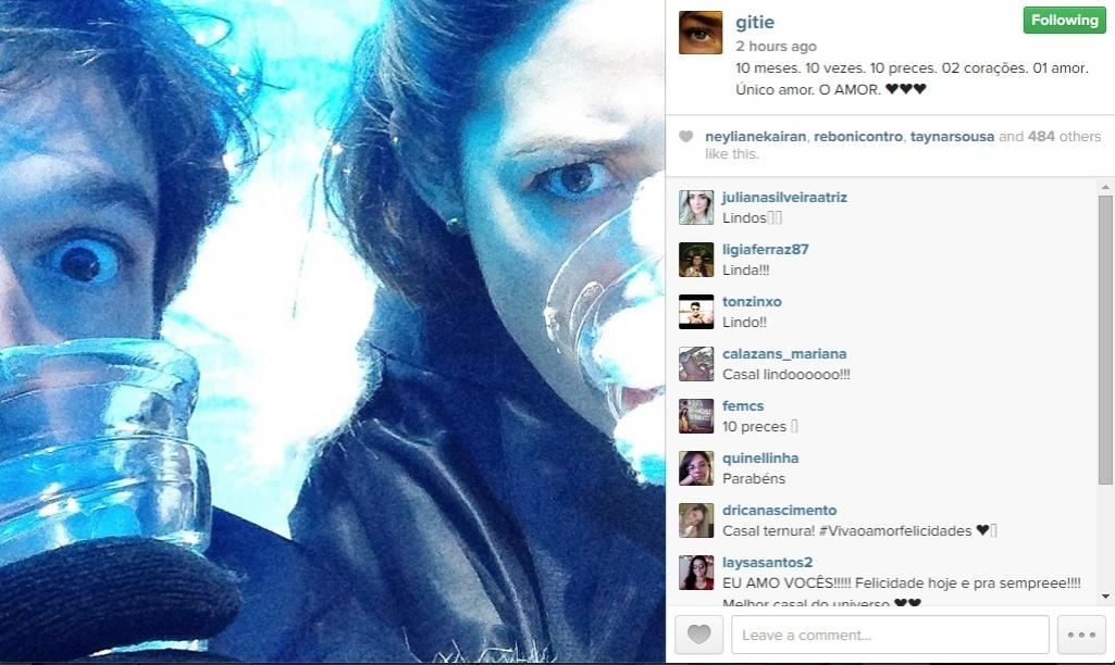Gisele Itiê postou uma mensagem romântica em seu Instagram na manhã desta segunda-feira (1º)