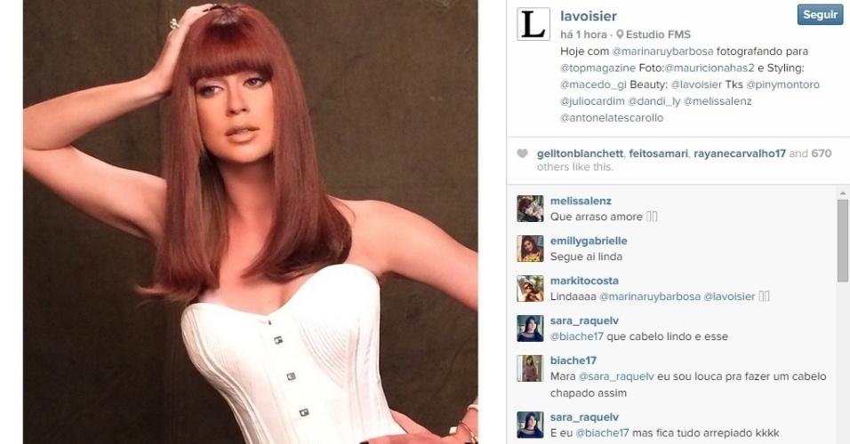 2.dez.2014 - Marina RuyBarbosa aparece de franjinha em ensaio fotográfico para a revista TopMagazine
