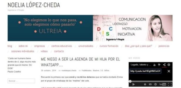 O blog de Noelia Lopez-Cheda já recebeu mais de 1 milhão de visitas - Reprodução