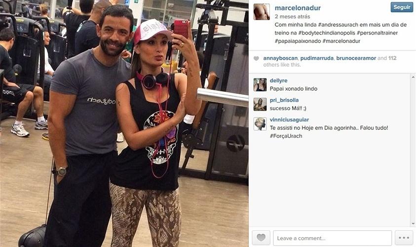 24.set.2014 - Andressa Urach posa com o personal trainer Marcelo Nadur