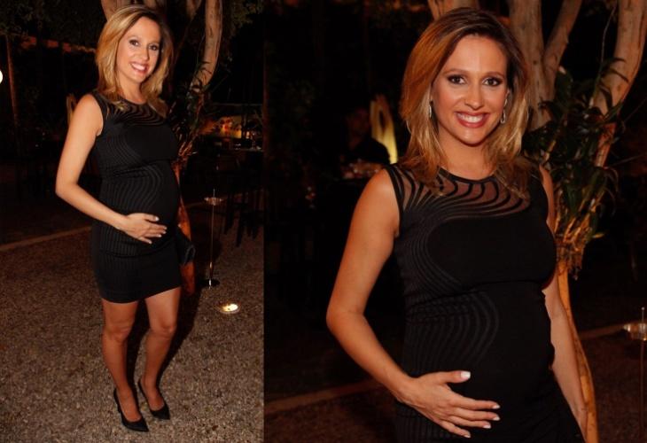2.dez.2014 - A apresentadora Luísa Mell mostra o barrigão de seis meses de gravidez no jantar da ONG Arcah (Associação de Resgate à Cidadania por Amor à Humanidade), no Jardim Europa, zona sul de São Paulo, na noite desta terça-feira