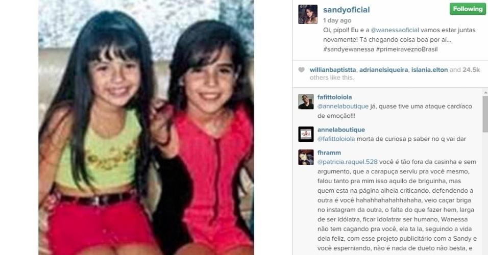 3.dez.2014 - Sandy publicou uma foto em seu Instagram onde ela e a cantora Wanessa aparecem crianças