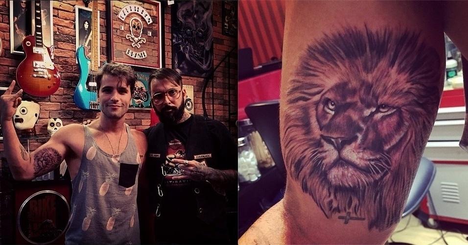 """4.dez.2014 - No ar como o serial killer Edu de """"Dupla Identidade"""", Bruno Gagliasso fez uma nova tatuagem nesta quinta-feira (4): um leão, na parte interna do braço direito"""