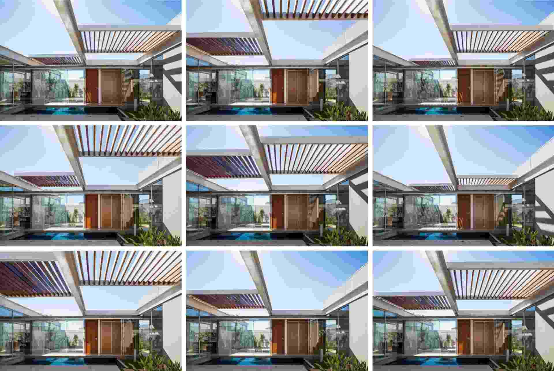 Na sequência de imagens é possível visualizar a modificação no posicionamento das pérgolas que permitem diferentes coberturas das áreas externas da residência projetada pelo escritório FGMF Arquitetos - Divulgação FGMF