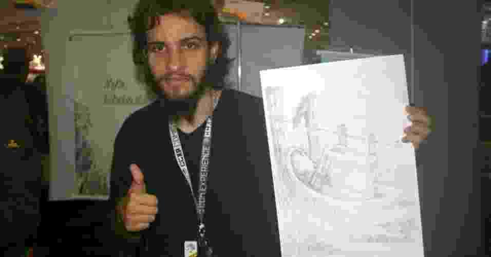 """5.dez.2014 - Marcio Mello com uma ilustração de sua hq """"Vapor & Pólvora"""", um faroeste em um mundo que começa a ter a tecnologia do gênero steampunk, mas ainda se mantém com tecnologias antiquadas nas fronteiras nas quais a história se passa - Guilherme Solari/UOL"""