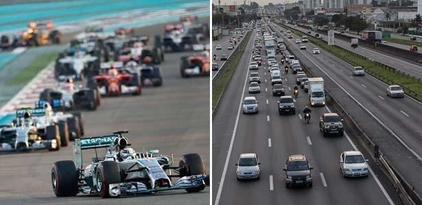 Divisões de competição e de produção das montadoras têm objetivos em comum: criar soluções para que os carros de Fórmula 1 e de rua andem mais gastando menos - Arte UOL Carros - Thiago Carvalho/Fotoarena