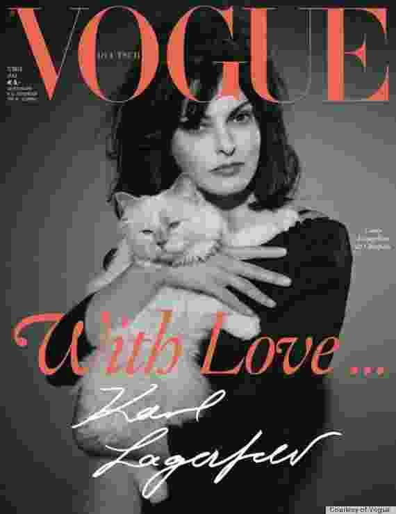 """No colo da modelo Linda Evangelista, Choupette apareceu pela primeira vez na capa da """"Vogue"""", na edição alemã de julho de 2013 - Divulgação"""