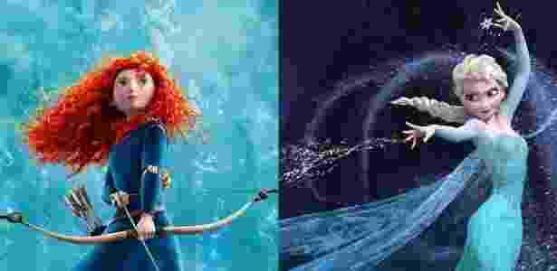"""Cenas das animações """"Valente"""" (2012) e """"Frozen"""" (2013), respectivamente da Pixar e da Disney, que são bom exemplo de como os estilos dos dois estúdios vêm se aproximando nos últimos anos - Divulgação"""