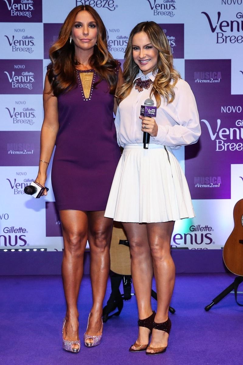 10.dez.2014 - Ivete Sangalo e Claudia Leitte participaram juntas de um evento em São Paulo