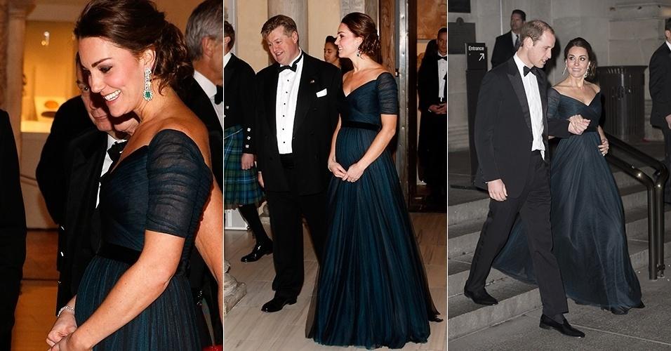 10.nov.2014 - Kate Middleton deixa a barriguinha de grávida em evidência durante um jantar de gala no Metropolitan Museum of Art, em Nova York. A Duquesa de Cambridge, que está grávida de seu segundo filho, viajou à cidade norte-americana com o marido, o Príncipe William