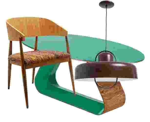 """Gosta daquele ar """"antiguinho"""" e, por isso, quer uma sala de jantar retrô? Em primeiro lugar, não tenha receio e empregue cores vibrantes e descoladas. Combine também peças com design inspirado no passado, de época (sugerimos as décadas de 1950 a 70) ou mesmo de estilo contemporâneo, mas que tragam algum detalhe """"vintage"""" como os pés palito, entre si ou com elementos mais moderninhos - Divulgação/ Montagem UOL"""
