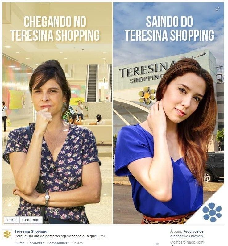 Anúncio do Teresina Shopping no Facebook faz alusão ao rejuvenescimento da Cora na novela