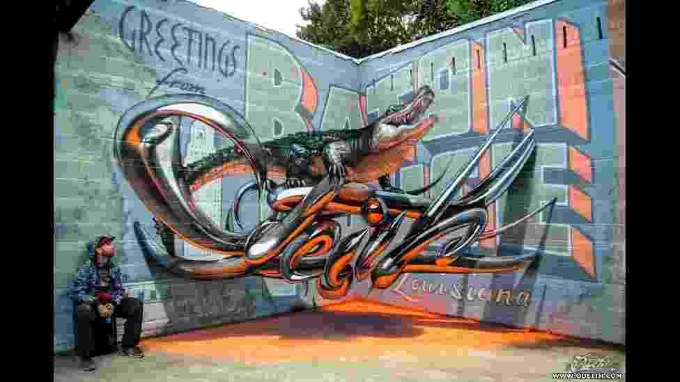O pintor e muralista português Odeith combina diversas técnicas de pintura e instalação artística para criar grafites tridimensionais que parecem saltar das paredes - BBC