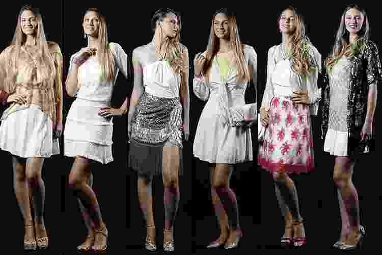 Para muitas mulheres, o vestido branco é indispensável na virada do ano. Para fugir do convencional, vale combinar com outras peças brancas ou coloridas (que podem ajudar a trazer dinheiro, amor ou paixão, por exemplo). A seguir, veja sugestões de seis diferentes looks criados com apenas um vestido branco - Reinaldo Canato/UOL