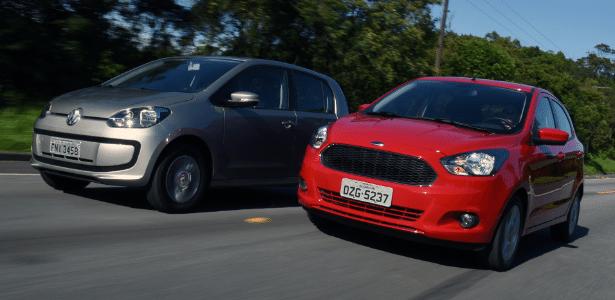 up! e Ka: ambos têm motor 1.0 três-cilindros, mas Ford entrega mais conteúdo que Volks e por isso se destacou em 2014, mesmo chegando seis meses depois - Murilo Góes/UOL
