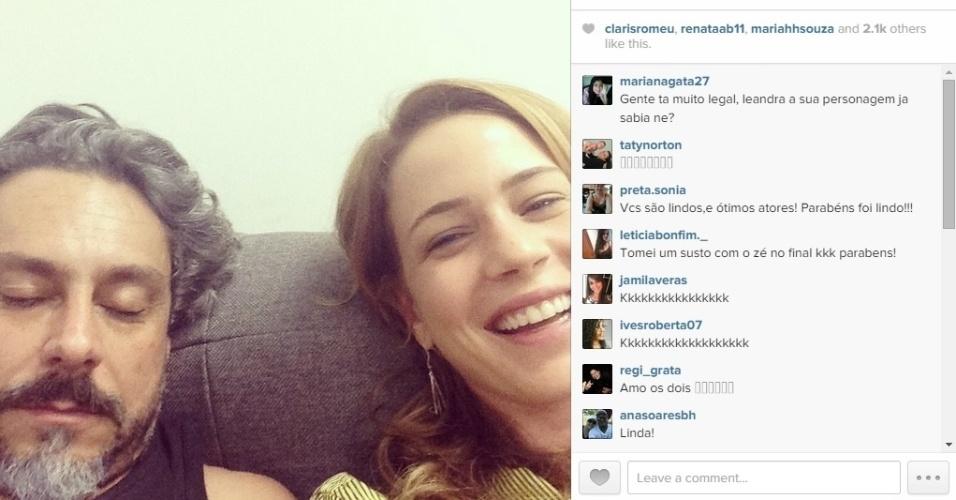 19.dez.2014 - Leandra Leal brincou com seus seguidores no Instagram na noite desta sexta-feira, ao publicar uma foto ao lado de Alexandre Nero dando uma zoadinha no amigo.