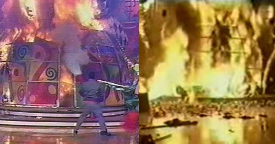 """Em 11 de janeiro de 2001, Xuxa cantava """"Ilariê"""" no palco do """"Xuxa Park"""" quando um incêndio tomou conta do cenário do programa"""