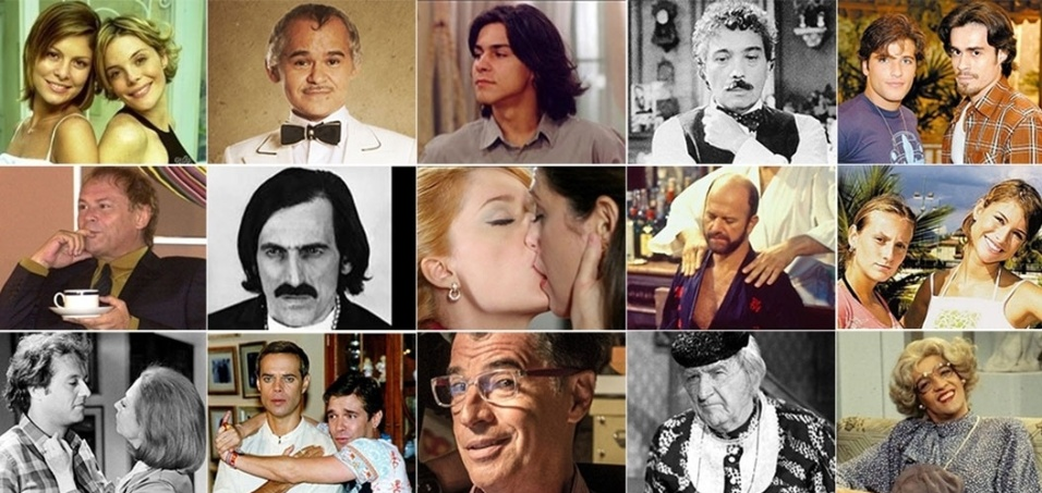 """Personagens homossexuais começaram a aparecer nas novelas brasileiras em 1970, em plena ditadura. O primeiro ator a fazer um gay foi Ary Fontoura em """"Assim na Terra Como no Céu"""". Veja uma relação dos personagens quer tiveram destaque ao longo desses anos"""