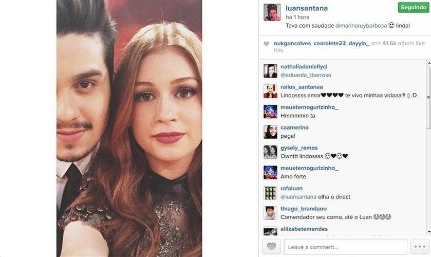 """20.dez.2014 - Luan Santana posa sua versão de selfie com Marina Ruy Barbosa no Melhores do Ano do """"Domingão do Faustão"""". """"Estava com saudades, @marinaruybarbosa. Linda"""", elogiou"""