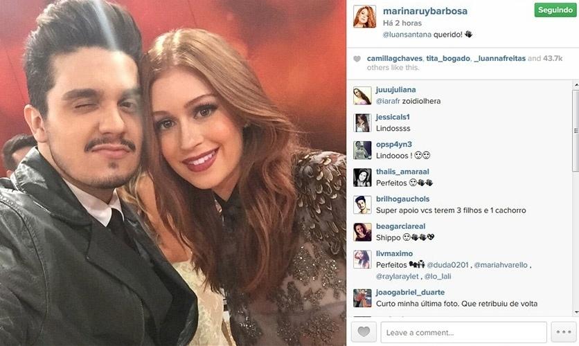 """20.dez.2014 - Marina Ruy Barbosa faz selfie com Luan Santana no Melhores do Ano do """"Domingão do Faustão"""". """"Querido"""", escreveu ela ao postar a foto"""