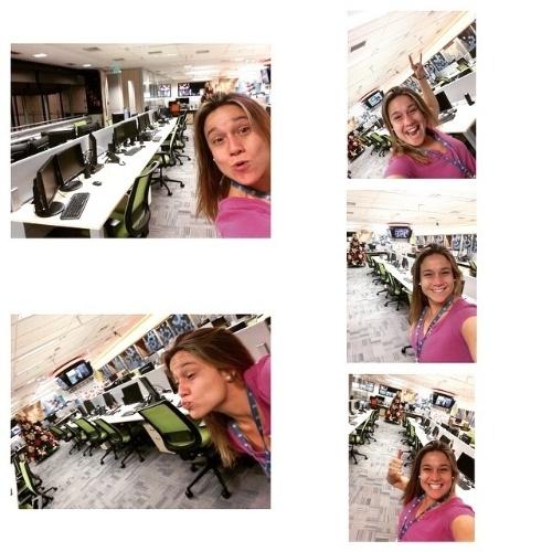 """22.dez.2014 - Segundona da semana do Natal, Fernanda Gentil """"madruga"""" na redação do Globo Esporte e a encontra completamente vazia"""