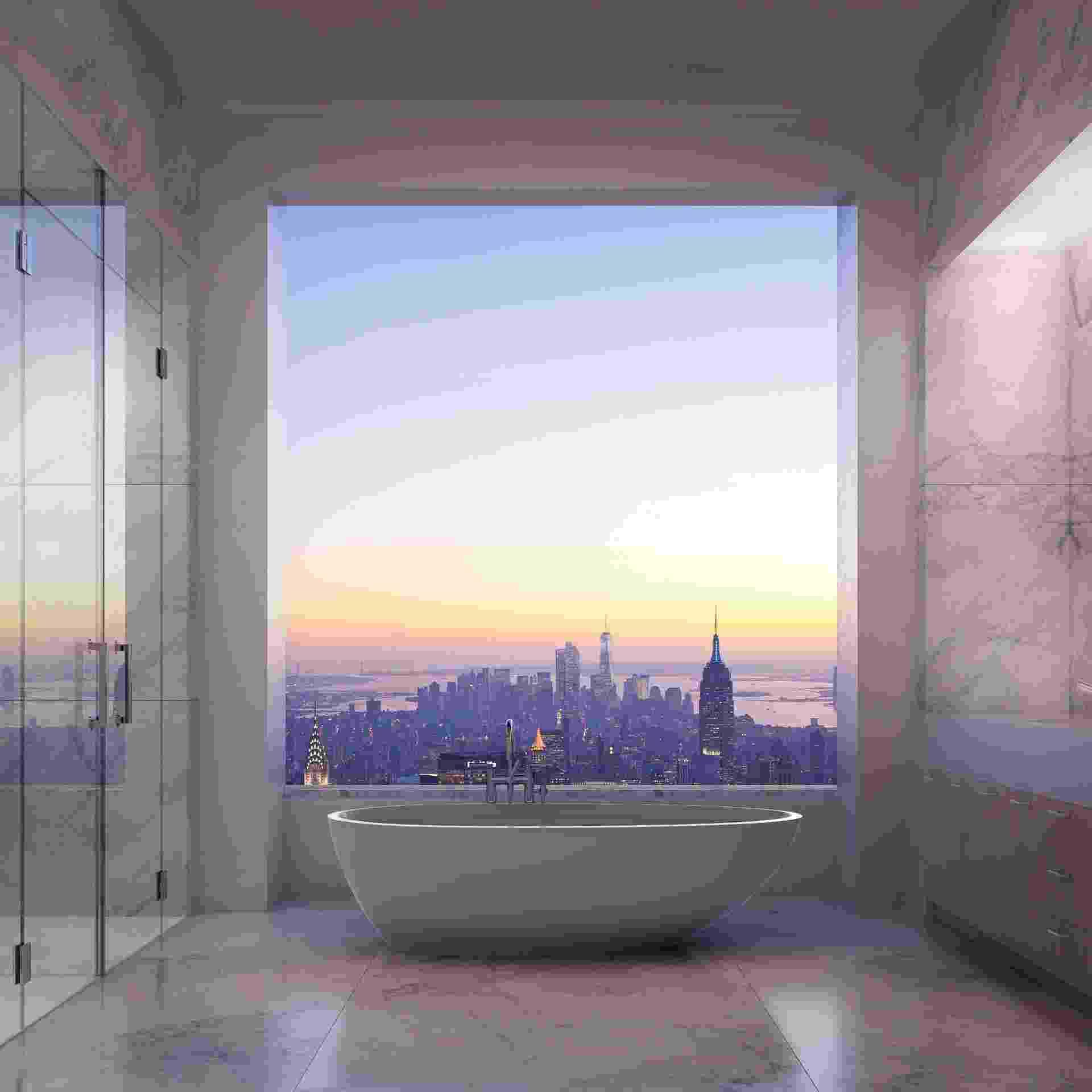 Em Manhattan, o prédio que será erguido no número 432, da Park Avenue, terá uma cobertura com vista panorâmica. O que chama a atenção no projeto é que o banheiro, revestido por mármore e de dimensões impactantes, terá uma banheira posicionada em frente a um pano de vidro - Imagem do NYT, usar apenas no respectivo material - DBOX for CIM Group & Macklowe Properties/ The New York Times