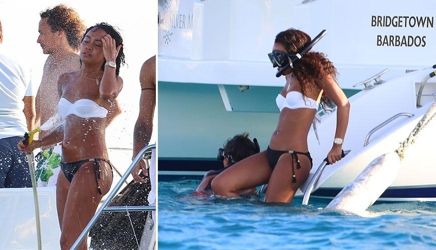 """24.dez.2014 - Revelada no reality show """"X-Facor"""", a cantora inglesa Leigh-Anne Pinnock foge do inverno inglês para curtir férias em Barbados"""