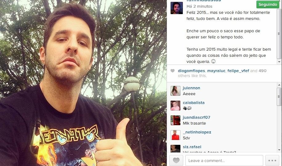 31.dez.2014- Rafinha Bastos deseja feliz Ano Novo aos seus seguidores do Instagram:
