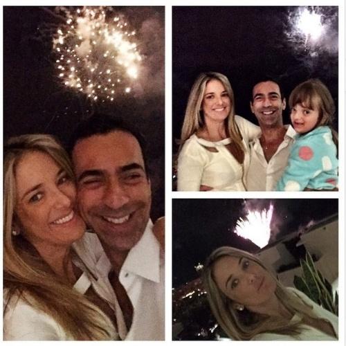 1.jan.2014- Ticiane Pinheiro comemora o Réveillon com a filha Rafa Justus e o namorado César Tralli em  Nova York