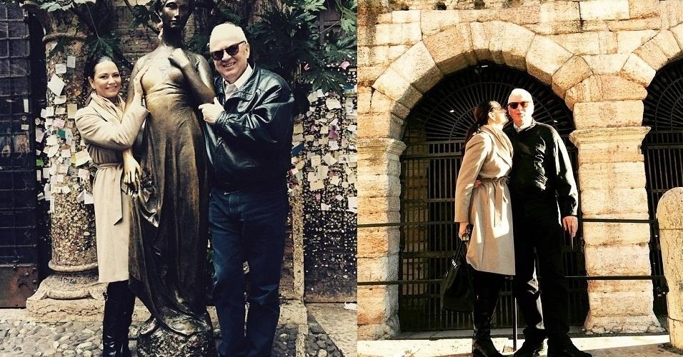 5.jan.2015 - Luiza Brunet faz viagem romântica com o namorado, o empresário Lírio Parisotto, na Itália
