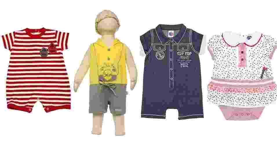 álbum de consumo de Gravidez e Filhos com opções de roupas para o banho de sol do bebê - Divulgação
