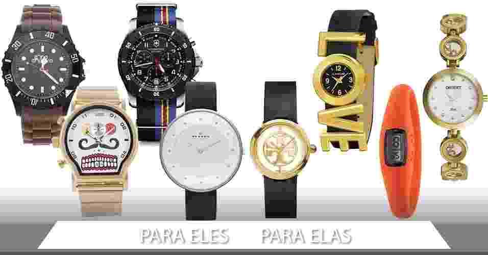 Navegue pelas setas e clique na da esquerda para ver sugestões de relógios masculinos e na direita para opções femininas - Divulgação