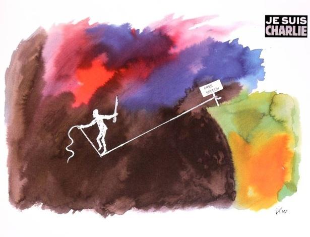 """Cartum do desenhista dinamarquês Kurt Westergaard, criado em 2009 e adaptado em apoio às vítimas do ataque à revista francesa """"Charlie Hebdo""""  - Reprodução/Twitter/Jyllands-Posten"""
