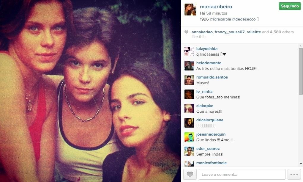 08.jan.2015 - Maria Ribeiro publica foto de quase 20 anos com Carolina Dieckmann e Deborah Secco