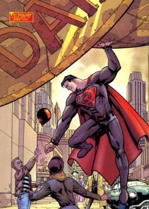 Em lugar do S, que significa Esperança no planeta Krypton, Superman leva orgulhosamente no peito uma foice e um martelo, símbolo da União de Repúblicas Socialistas Soviéticas - Reprodução