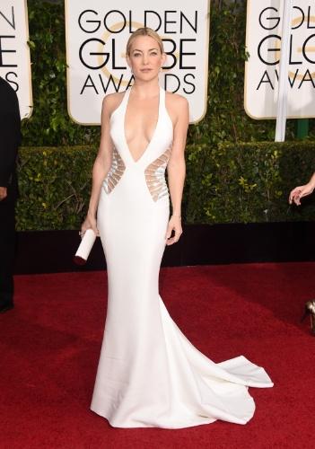 11.jan.2015 - Kate Hudson chega à cerimônia de gala do Globo de Ouro, em Los Angeles