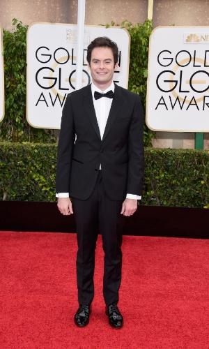 """11.jan.2015 - O ator Bill Hader, do """"Saturday Night Live"""", chega à cerimônia do Globo de Ouro, em Beverly Hills, em Los Angeles"""