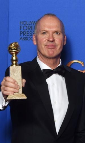 """11.jan.2014 - Michael Keaton ganhou a estatueta de melhor ator de comédia ou musical por sua atuação em """"Birdman ou A Inesperada Virtude da Ignorância"""""""