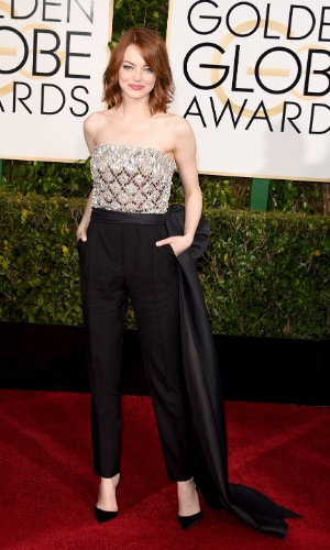 11.jan.2015 - Emma Stone no Globo Ouro