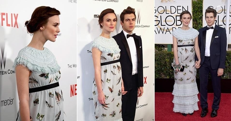 11.jan.2015 - Grávida, Keira Knightley exibe barriguinha discreta no Globo de Ouro 2015, ao qual foi acompanhada do marido, o músico James Righton, do Klaxons,