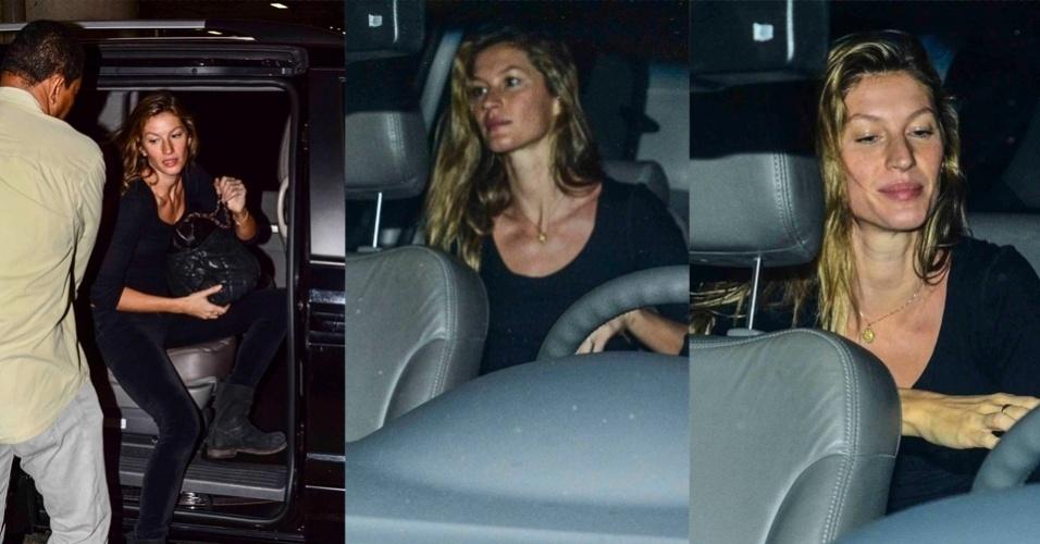 12.jan.2015 - Gisele Bündchen desembarcou no aeroporto de Guarulhos sem fazer muito alarde na noite dessa segunda-feira